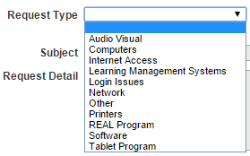 HelpDesk - Request Type options